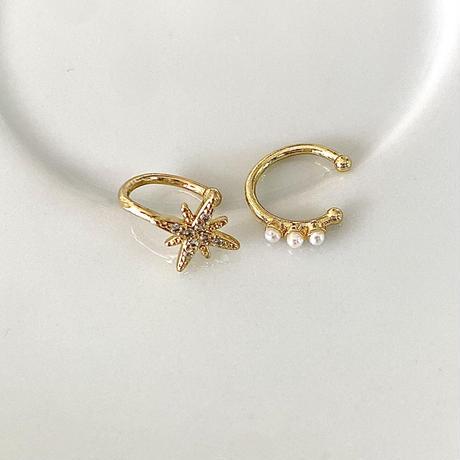 star & pearl design ear cuff set