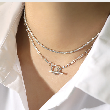 【silver925 】rectangle chain necklace