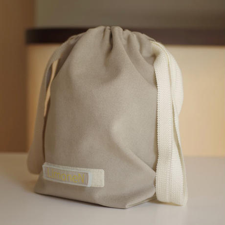 DRAWSTRING DRAPED POUCH BAG-ULTRA SUEDE (GREIGE)