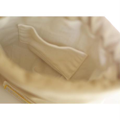 DRAWSTRING DRAPED POUCH BAG-ULTRA SUEDE (IVORY)