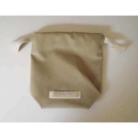 DRAWSTRING DRAPED POUCH BAG-ULTRA SUEDE (BEIGE)