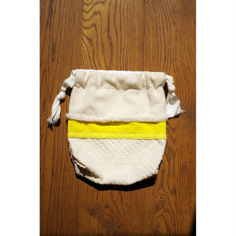 PATCH WORK DRAWSTRING POUCH-ORGANIC COTTON CORDUROY MIX