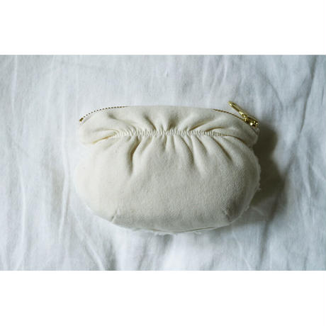 ORGANIC COTTON FUR GATHERED POUCH