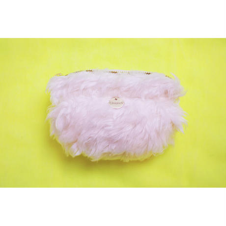 ORGANIC COTTON LONG FUR GATHERED POUCH