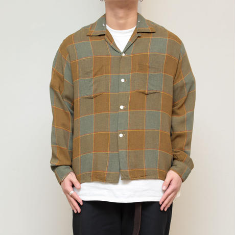 60s Checked rayon shirt