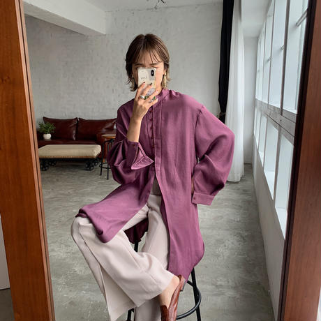 ♢予約販売♢Linkoriginal 2wayサテンロングスリットブラウス/purple_lt0484