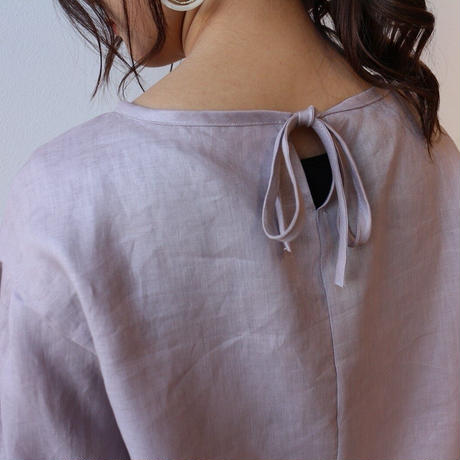 ●全11色●【リネンブラウス】リネンで魅せる、ボリューム袖バックリボンデザインブラウス○春夏リネンブラウス○