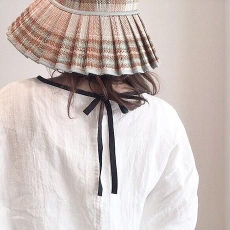 【リネンブラウス】くったり柔らかベルギーリネン100% ドルマン袖バックリボンブラウス