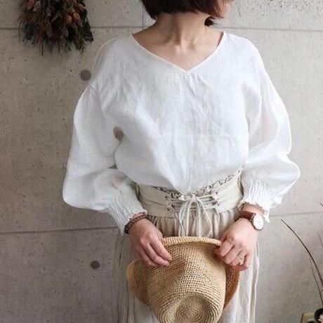 【リネンブラウス】東欧ベラルーシ産リネンで魅せる、ボリューム袖バックリボンデザインブラウス 春夏リネンブラウス ホワイト