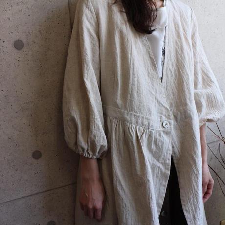 【Designers Line】リネンワンピース ハンドワッシャーリネンで魅せる、カシュクールワンピース サンドベージュ