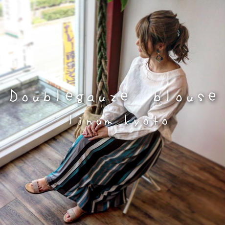 【全5色】ゆるふわダブルガーゼで魅せる、シンプルなカフス仕様のプルオーバーブラウス(ホワイト)