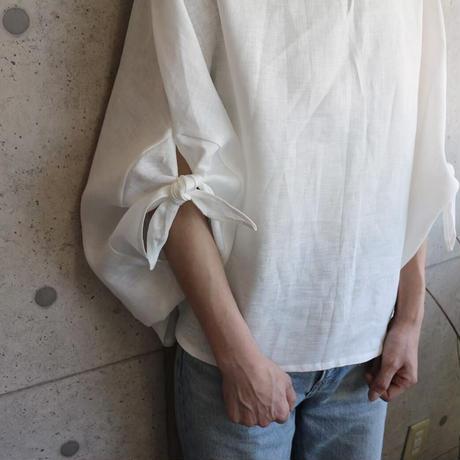 【リネンブラウス】東欧ベラルーシリネンで魅せる、ゆったりドルマンリボンポンチョ(ホワイト・生成り)○春夏リネンブラウス○