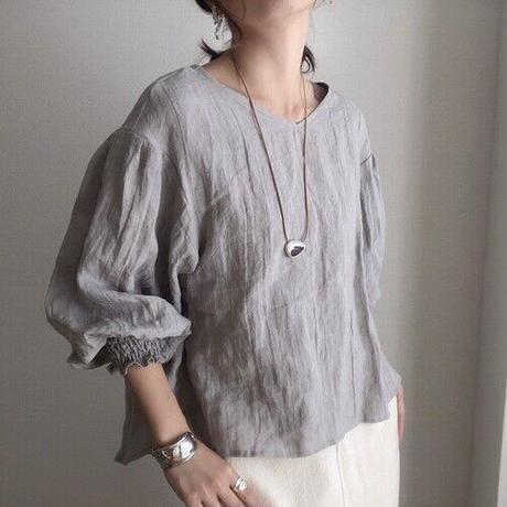 【リネンブラウス】くったり柔らかベルギーリネン100% デザインブラウス シルバーグレー