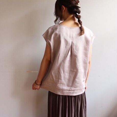 【リネンブラウス】全11色 カラーリネンフレンチスリーブバックタックブラウス リネンTシャツ