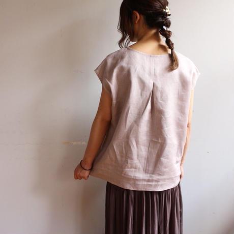 【リネンブラウス】全11色 カラーリネンフレンチスリーブバックタックブラウス リネンTシャツ ブラック モーブ