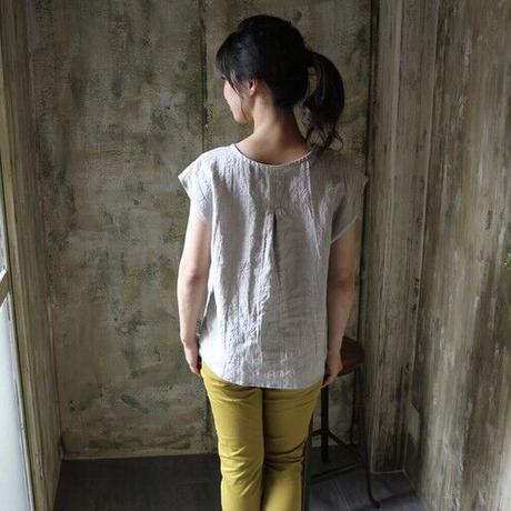 全8色 【ベルギーリネンブラウス】洗い込まれてくったり柔らかベルギーリネンのバックタックフレンチスリーブブラウス リネンTシャツ オフホワイト