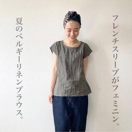 全8色 【ベルギーリネンブラウス】洗い込まれてくったり柔らかベルギーリネンのバックタックフレンチスリーブブラウス リネンTシャツ ターコイズ