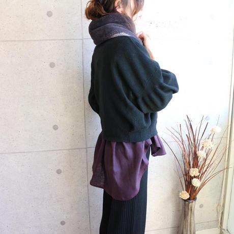 【リネンブラウス】中厚地リネンで魅せる、前下がりギャザーチュニックブラウス(パープル)○リネンシャツ○