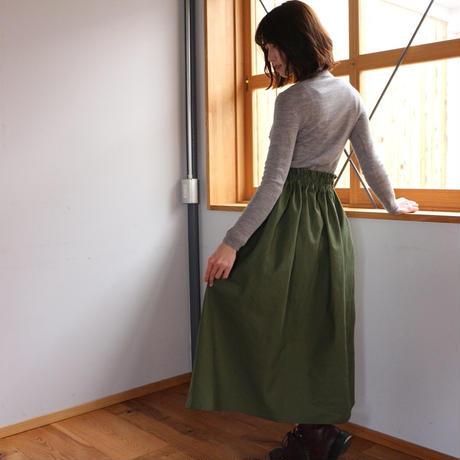 【Fサイズ】しっかりコットンリネンで魅せる、ウエストゴムのロングギャザースカート(綿麻アイビーグリーン)