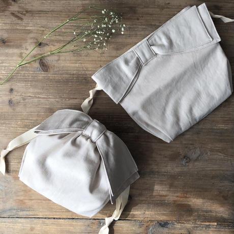 【Gardener】リネンツイルアシンメトリーリボン巾着