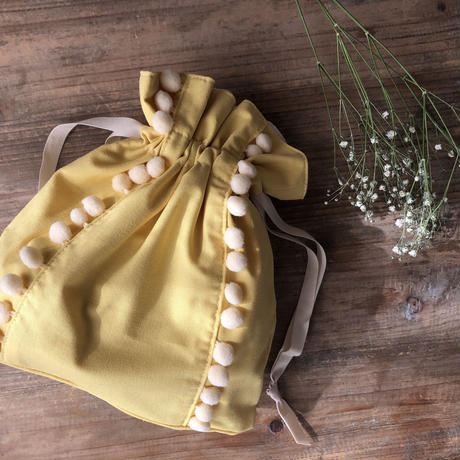 【Gardener】ダブルポンポン巾着