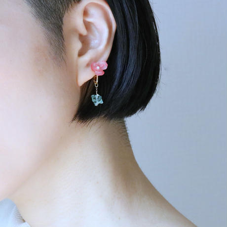 Botanical Red Earings/ Studs earrings  Pair