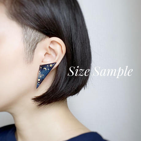 Indigo studs earrings 【Large】ピアス