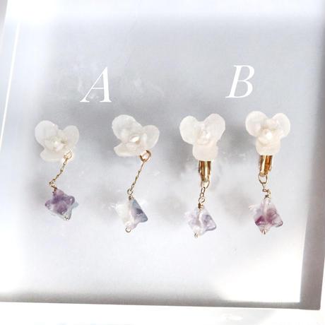 Botanical White  Earings/ Studs earrings  Pair