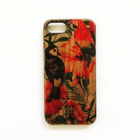iphone case ラバー【BRID wood】