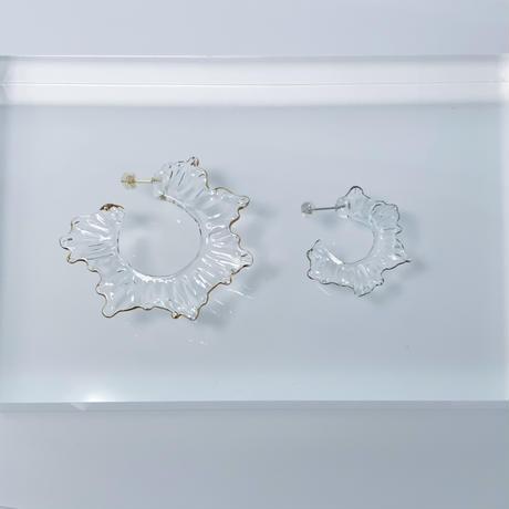 Water Frill フックピアス 金彩・プラチナ彩セット