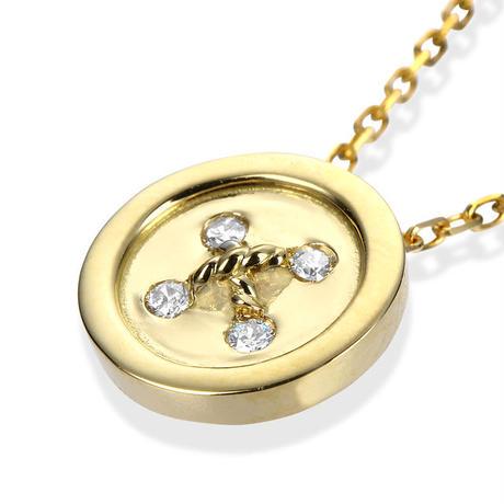 K18YG ダイヤモンド ボタンネックレス