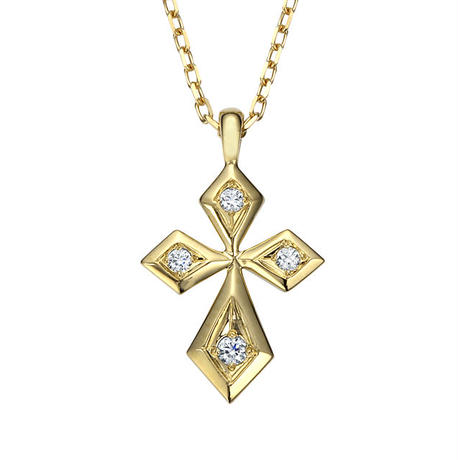 K18YG ダイヤモンド クロスネックレス