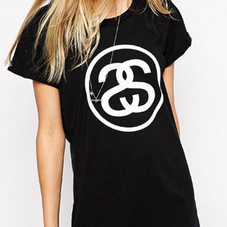 大人気 STUSSY半袖ロングtシャツ 黒 ブラック 可愛い ロング オシャレ ウイメンズファッション レディース