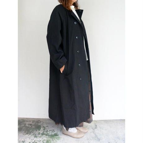 【ご予約承り中】Bagsy コットンツイルノーカラーコート BLACK