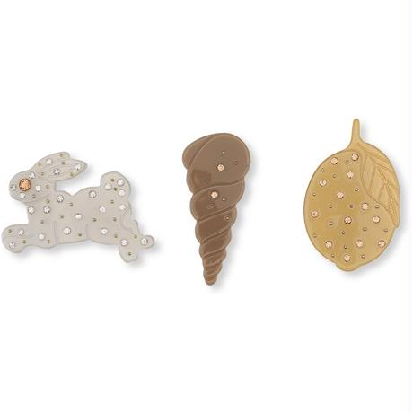 Konges Sloejd  3 PACK HAIR CLIPS * SHELL/RABBIT/LEMON