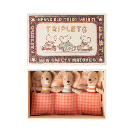 Maileg Baby mice, Triplets in matchbox みつごの赤ちゃんネズミ