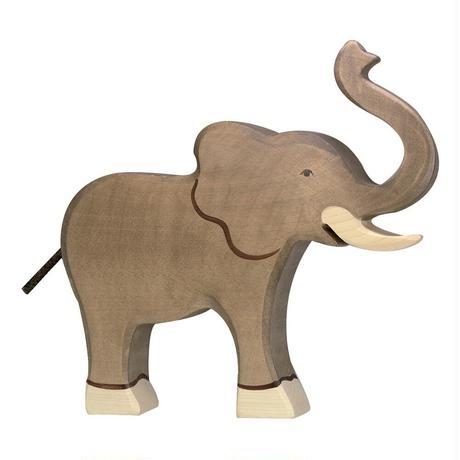Holztiger / Elephant, trunk raised