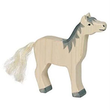 Holztiger / Horse, head raised, grey mane