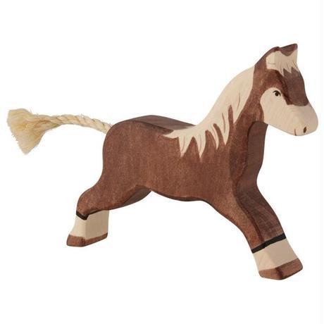 Holztiger / Horse, running, dark brown