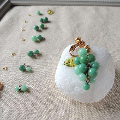 Dangling Grapes Set /Quilt leaf (col.モス,ミント)