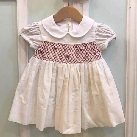 474.【USED】White Red embroidery  Dress