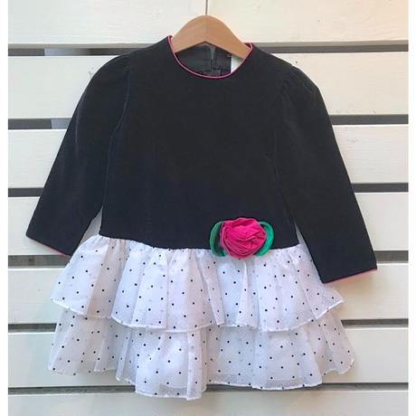 456.【USED】Rose Black×White Dress