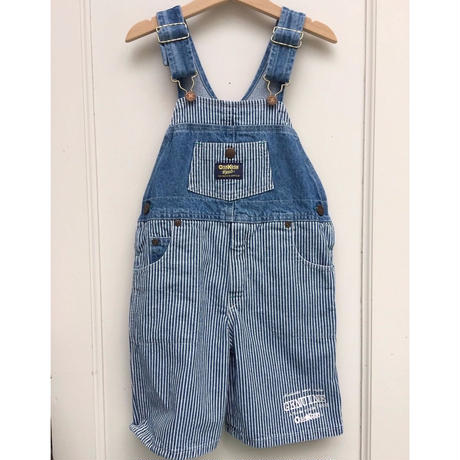 "94.【USED】""OSHKOSH"" Hickory Stripe Short Overall"