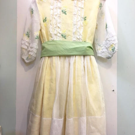 199.【USED】50's Vintage yellow flower design Dress