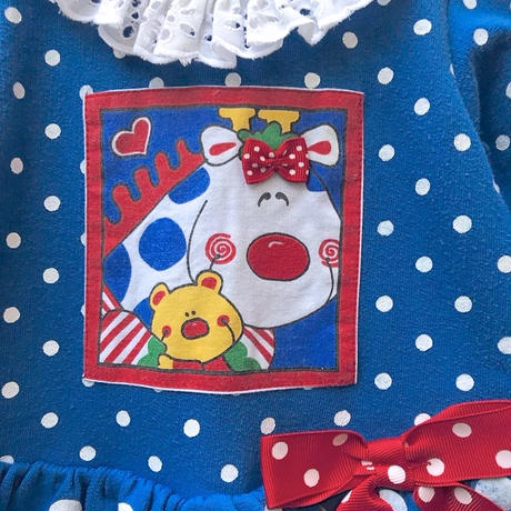 493.【USED】Giraffe Ribbon Dot Rompers
