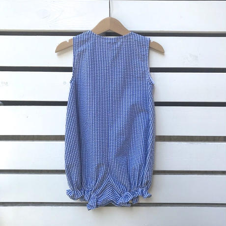 【USED】Bear design gingham check Rompers