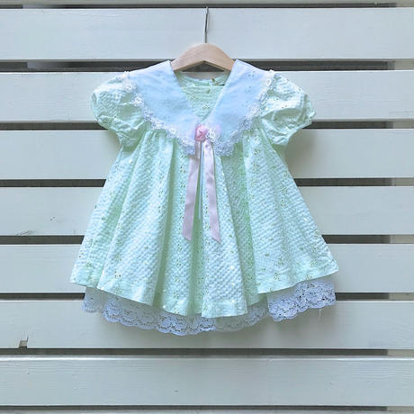 13.【USED】Pastel green lace design Dress