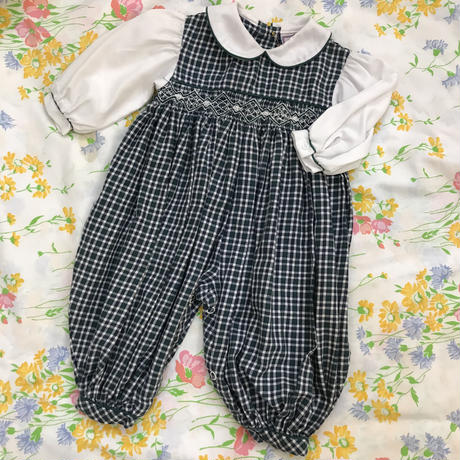 【0-3 mos】Navy×Green Formal Rompers 468.