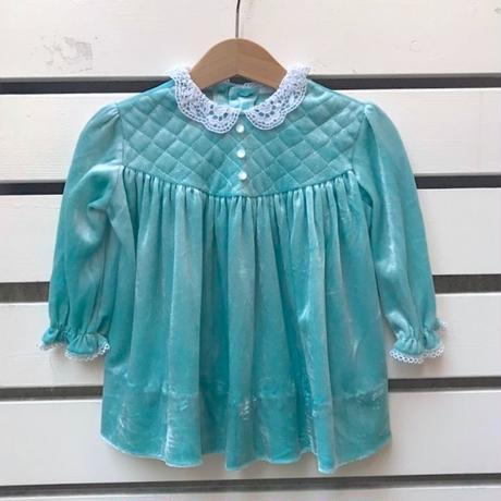 429.【USED】Mint green velours Dress