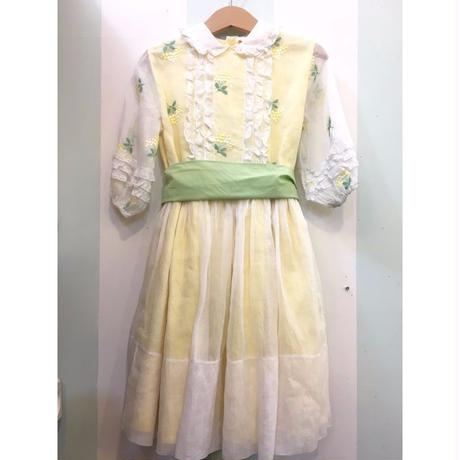 199.【USED】50's Vintage yellow flower design Dress
